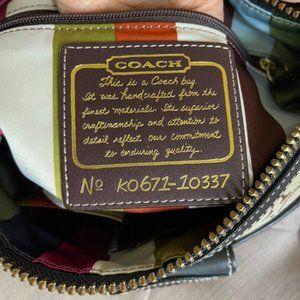 Coach Black/Khaki Canvas Shoulder Bag